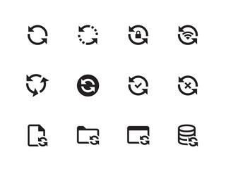 Synchronization icons on white background. Vector illustration.