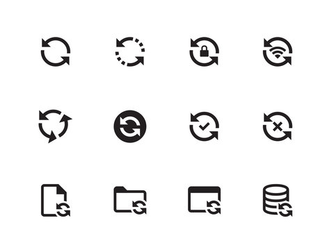 Synchronization icons on white background. Vector illustration.
