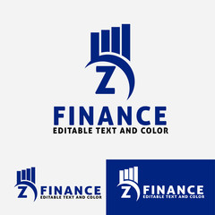 Letter  z Vector logo concepta for accounting or real estate company. Logo design for finance with commercial building and chart bars. Business logo idea.