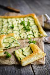 Zucchini pie with cheese and garlic