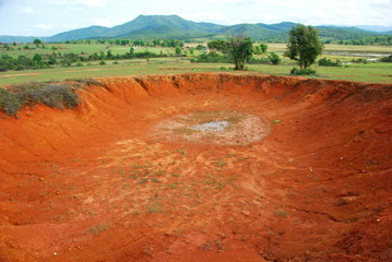 Bomb craters in the world's most heavily bombed place near the Plain of Jars archaeological site in Phonsavan, Laos