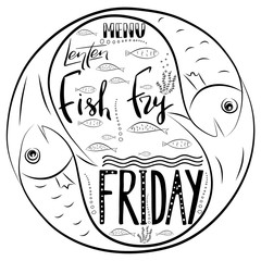 Traditional menu for Lent fasting celebration. Handwritten text  Fish Fry.  The symbol of the Christian religion. Vector design. .