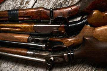 Different types of ancient hunting shotguns