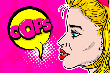 Blonde Woman pop art wow profile face. Pinup girl say oops speech bubble comic text. Balloon message box advertisement. Love kitsch fashion background. Vector heart illustration Valentines Day poster.