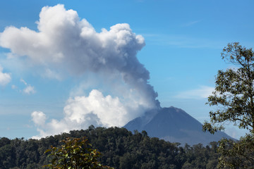 the erupting of Sinabung,Sibuatan volcano,Indonesia