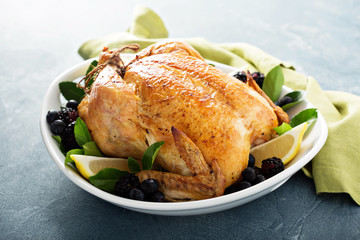 Roasted chicken for holiday or sunday dinner