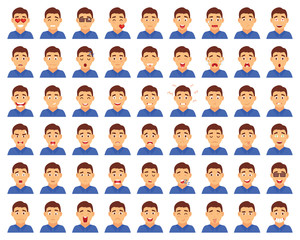 Set of male emoji characters. Cartoon style emotion icons. Isolated boys avatars with different facial expressions. Flat illustration men's emotional faces.