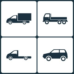 Vector Illustration Set of Truck and Transport Icons. Elements of Truck, Transport and Mini Car icon