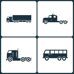 Vector Illustration Set of Truck and Transport Icons. Elements of Truck, Transport and Mini bus icon