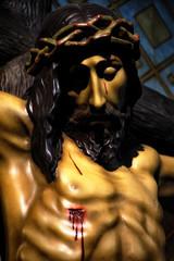 Detalle  de la talla del cristo de las mercedes