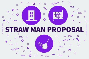 Conceptual business illustration with the words straw man proposal