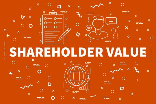Conceptual business illustration with the words shareholder value