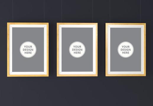 3 Hanging Wooden Frames Mockup 1