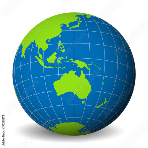 Earth globe with green world map and blue seas and oceans focused on earth globe with green world map and blue seas and oceans focused on australia with gumiabroncs Choice Image