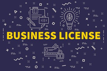 Conceptual business illustration with the words business license