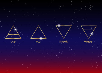 icon elements : Air , Earth , Fire and Water. Wiccan divination symbols. Ancient occult symbols, vector illustration