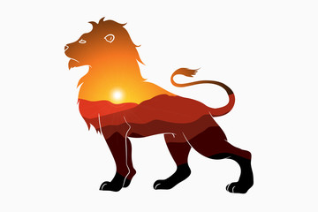 Lion and nature double exposure - animal silhouette with mountain landscape and sun. Modern trendy illustration for logo. Vector.