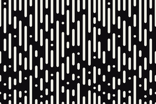 Rounded lines seamless pattern. Black and white background with abstract dynamic round stripes and circles. Vector illustration.