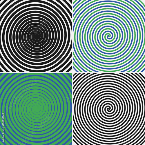 Hypnotic circles set  Collection of psychedelic spiral backgrounds