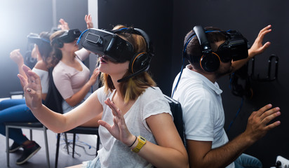Young people enjoy virtual reality