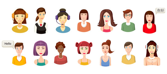 Woman avatar icon set, cartoon style