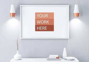 Horizontal Frame Above Modern Furniture Mockup 2