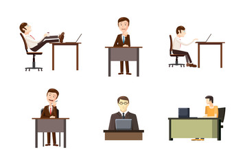 Man at desktop icon set, cartoon style