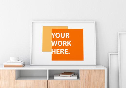 Framed Poster Mockup on Side Table Mockup 1