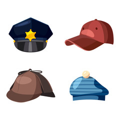 Cap icon set, cartoon style