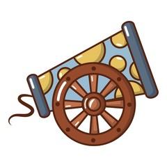 Cast-iron cannon icon, cartoon style.
