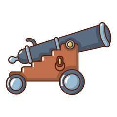 Siege gun icon, cartoon style.