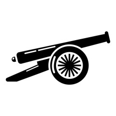 Enemy cannon icon, simple style.