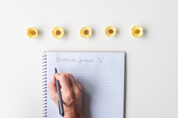 Directly above view of woman's hands holding black pen above spiral notebook gratitude journal on white table with yellow everlasting daisies.