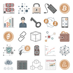Blockchain and cryptocurrency mining icons