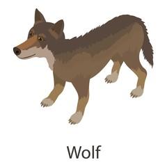 Wolf icon, isometric style