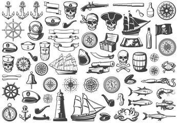 Vintage Monochrome Marine Icons Collection