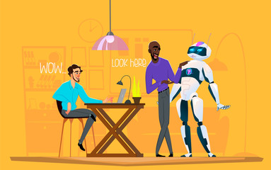 Business characters in different situation. Teamwork with robot. Men discuss business process with robot