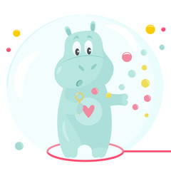 Vector image of a funny hippo with soap bubbles