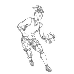 Doodle art illustration of female basketball player dribbling ball viewed from front on isolated background done in black and white.