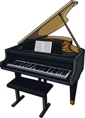 Vector illustration of a typical classic musical instrument. A black grand piano