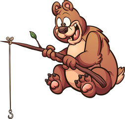 Cartoon fishing bear. Vector clip art illustration with simple gradients. Some elements on separate layers.