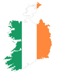 Republic of Ireland flag in country silhouette. Landmass and borders as outline, within the banner of the nation in colors green, white and orange. Isolated illustration on white background. Vector.