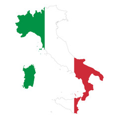 Italian Republic flag in country silhouette. Landmass and borders of Italy as outline, within the banner of the nation in colors green, white and red. Isolated illustration on white background. Vector