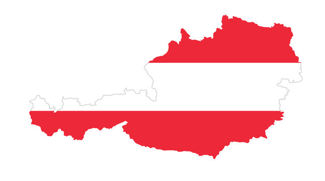 Republic of Austria flag in country silhouette. Landmass and borders as outline, within the banner of the nation in colors red and white. Isolated illustration on white background. Vector.