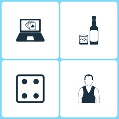 Vector Illustration Set Casino Icons. Elements of Poker game, Whiskey bottle, Dice game and Croupier icon