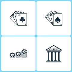 Vector Illustration Set Casino Icons. Elements of Four Ace, Gambling chips and Casino icon