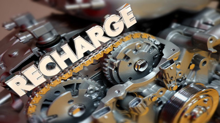 Recharge Power Fuel Energy Engine Motivation 3d Illustration