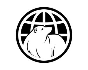 black globe bear grizzly polar beast animal fauna image vector icon logo silhouette