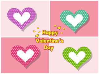 Colorful Valentine's Day Love Symbol Heart On Color Background. holiday and decoration element. Vector illustration