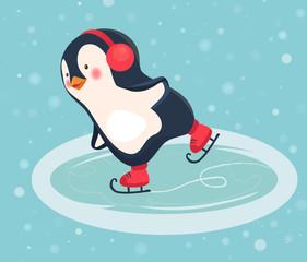 penguin skater cartoon